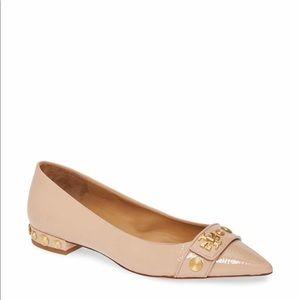 🔥🔥TORY BURCH Kira Studded Pointy Toe Flat.